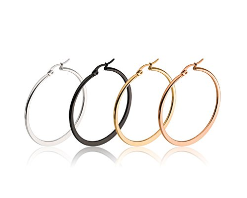 Hoop Earrings, Gold Plated Stainless Steel 4 Pairs Large Surgical Steel hoops 60mm 2.4inch (Flat (Black Silver Hoop)