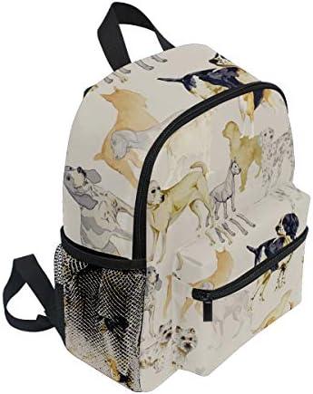 抽象犬子犬パグ幼児バックパックブックバッグミニショルダーバッグ1-6年旅行男の子女の子子供用チェストストラップホイッスル