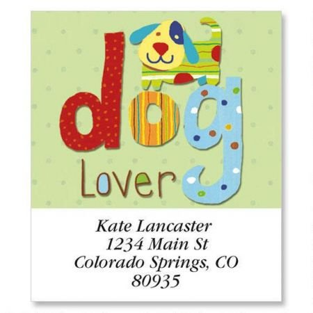 Dog Lover Square Return Address Labels - Set of 144 1-1/2 x 1-3/4 Self-Adhesive, Flat-Sheet labels