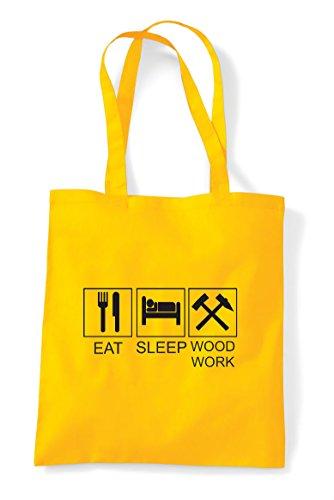 Tiles Hobby Yellow Activity Sleep Funny Eat Shopper Tote Bag Woodwork PxvSqxzIwE