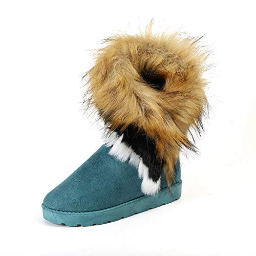 JOYBI Women's Faux Suede Snow Boots Fur Lined Comfortable Round Toe Slip-On Casual Winter Ankle Booties Blue
