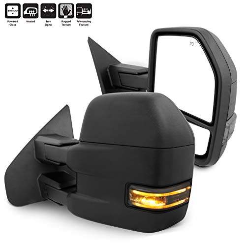 For 07-14 Ford F150 Pair of Power + Heated + Turn Signal + Puddle Lamp + Manual Extendable Black Towing Side Mirrors