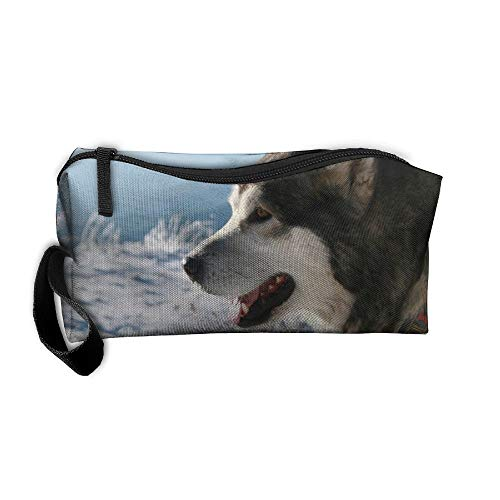Snow Alaskan Malamute Travel Jewelry Pouch For Womens Cosmetics Case Makeup Organizer With Zipper