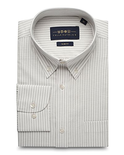 (Collar Tales Men's Bengal Striped Superfine Cotton Slim Fit Narrow Collar Button Down Long Sleeve Dress Shirt with Pocket- Light Grey & Off White)