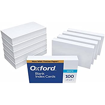 """Oxford Blank Index Cards, 3"""" x 5"""", White, 1,000 Cards (10 Packs of 100) (30)"""
