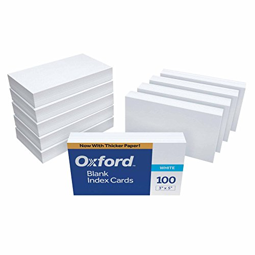 "Oxford Blank Index Cards, 3"" x 5"", White, 1,000 Cards (10 Packs of 100) (30)"