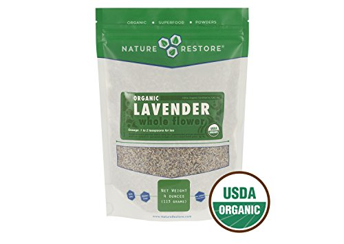Lavender Flowers Organic - Nature Restore Organic Dried Lavender Flowers, Loose Leaf, Extra Grade, 4 Ounces