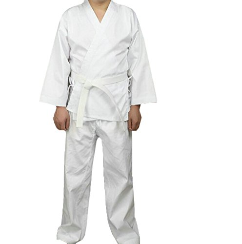 ZooBoo Martial Arts Aikido Judo Student Karate Gi Suit Uniform Costume With Belt (M, White) - Karate Gi Costume
