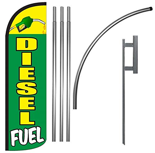 Diesel Fuel Windless Feather Swooper Flag Banner Sign Kit - gq -