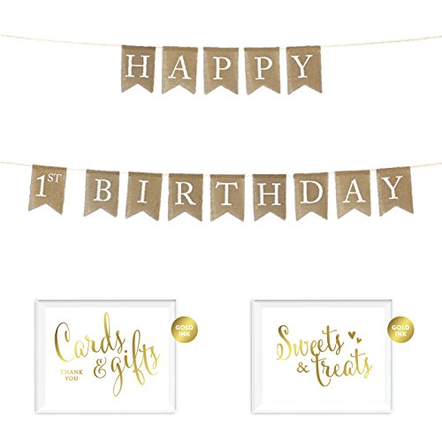 Andaz Press Real Burlap Fabric Pennant Hanging Banner with Gold Ink Party Signs, Happy 1st Birthday, Pre-Strung, No Assembly Required, 1-Set (First Birthday Sign)
