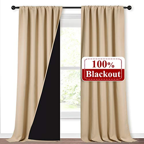 NICETOWN Thermal Insulated 100% Blackout Curtains, Noise Reducing Drapes with Black Backing, Rod Pocket Full Light Blocking Panels for Patio Sliding Door (Biscotti Beige, 1 Pair, 52-inch x 108 inches)