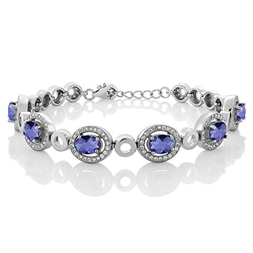 5.82 Ct Oval Checkerboard Blue Iolite 925 Sterling Silver Bracelet