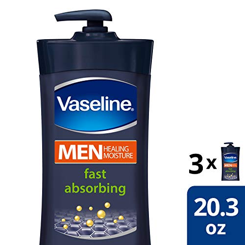 Vaseline Men Healing Moisture Body Lotion For Dry Skin Fast Absorbing Absorbs in Just 15 Skin For Moisturized Skin 20.3 oz 3 count 4