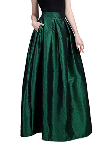 (Chartou Women's Solid Back-Stretch High Waist A-line Full/Ankle Length Big-Hem Swing Pleated Maxi Skirt (Green, Small))