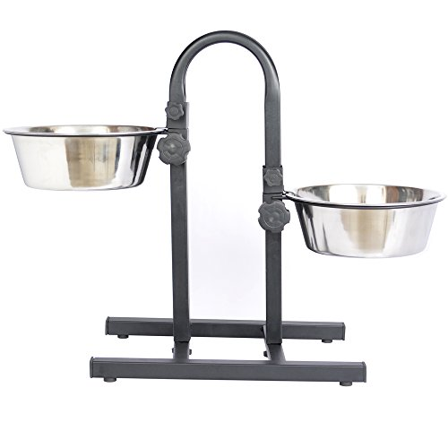 Adjustable Height Double Diner - Iconic Pet 12-Cup Adjustable Stainless Steel U-Design Pet Double Diner, 96-Ounce
