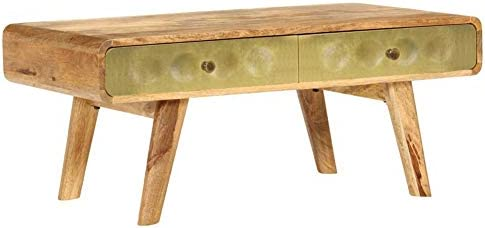Groothandel Wakects salontafel, koffietafel, koffietafel, koffietafel met gouden druk, nachtkastje, woonkamertafel, van massief hout, rechthoekig, massief mangohout, 90 x 50 x 40 cm  5BQP3OJ