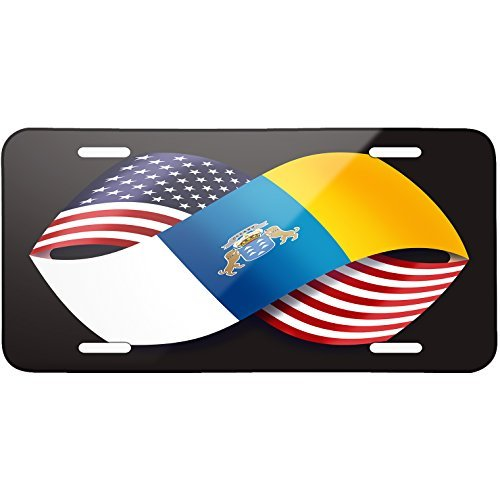 Friendship Flags USA and Canary Islands region Spain Metal License Plate 6X12 Inch by Saniwa