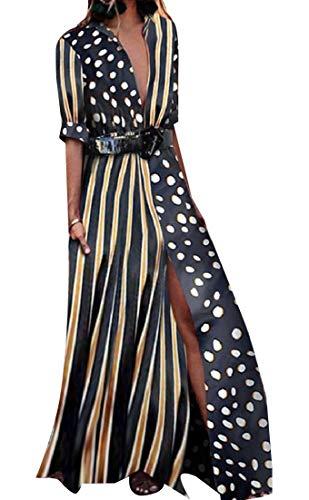 AngelSpace Women Plunge V Neck Shirts Pinstripe Splicing Polka Dots Maxi Dress 1 M ()