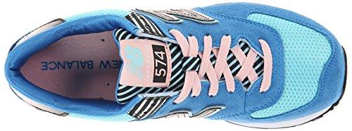 New mode Balance B Pink WL574 Suede femme Blu Mesh Baskets Blue xIITrwOd6q