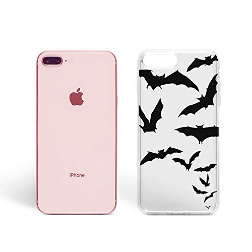 ZizzStore Halloween Case for Apple iPhone Protective Case Clear Transparent Silicone Flexible Design Art Gift Trick or Treat Pumpkin (Batman Flying Bats, iPhone -