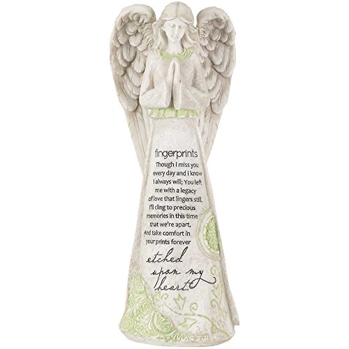 (Fingerprints Etched Upon My Heart 11.25 Inch Resin Tabletop Praying Angel Figurine)