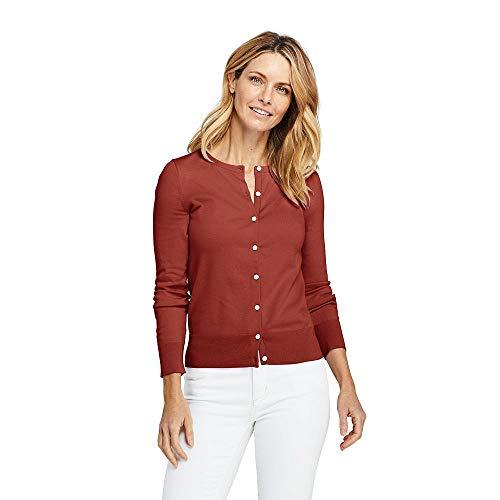 - Lands' End Women's Petite Supima Cotton Cardigan Sweater, XS, Auburn