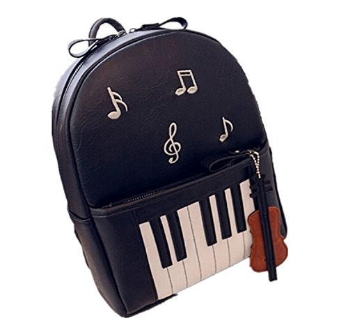 Skyseen Piano Musical Notes PU Leather School Bag Backpac...