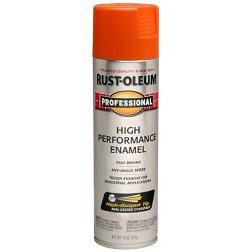 Rust-Oleum 7555838 Professional High Performance Enamel Spray Paint, 15 oz, Safety Orange