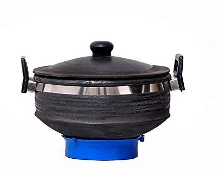 Vaghbhatt Clay Black Handi/Tadka Handi/Kadhai/Pot (3 Lit, deep Burned, Used on�