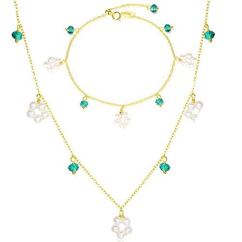 Emerald Glass Brooch - J.Memi's Necklace Natural Green Gemstone Emerald 3-4mm Pearl Pendant 925 Sterling Silver Bracelet Jewelry Set, Fine, Set