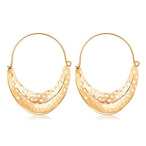 - MengPa Metal Crescent Moon Dangle Drop Earrings for Women Geometric Jewelry Gold D-4075G