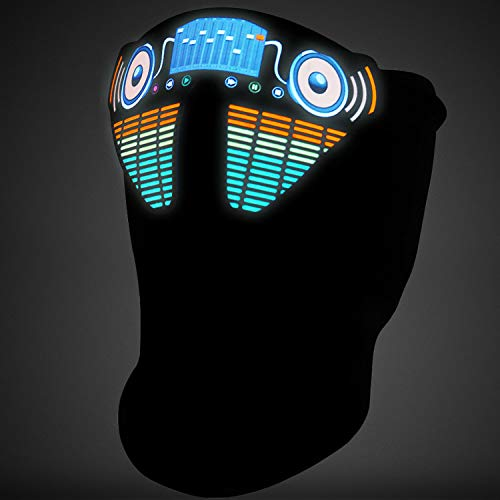 JIGUOOR Halloween Mask LED Light Up Mask Music Face Mask for Cosplay Christmas Halloween Festival Party