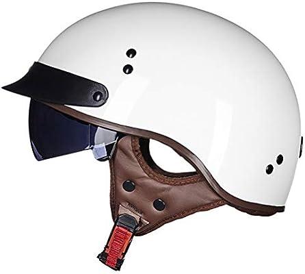 EWheelchair888 Casco Moto Casco Abierto Protección para Motocicleta Vintage Casco Moto Jet con Visera Mujer y Hombre para Ciclomotor Scooter Bicicleta Mofa Piloto Crash Cruiser Chopper Racing Cap: Amazon.es: Hogar