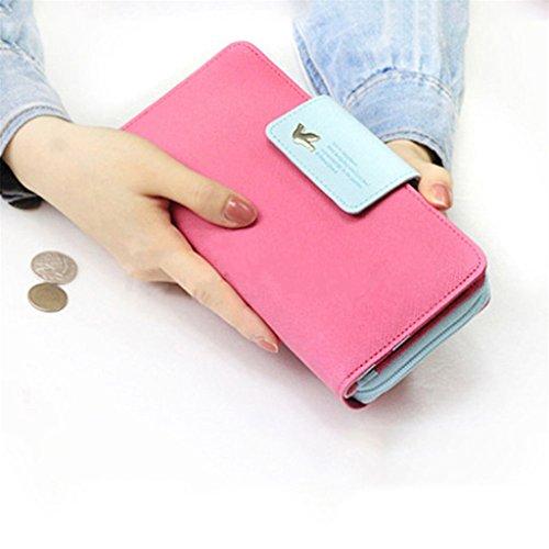 verde donna Hot bella Pink fibbia pochette lungo portafoglio Qiuxiaoaa carta titolare portafoglio cuoio portafoglio donna portafoglio SqwTnO
