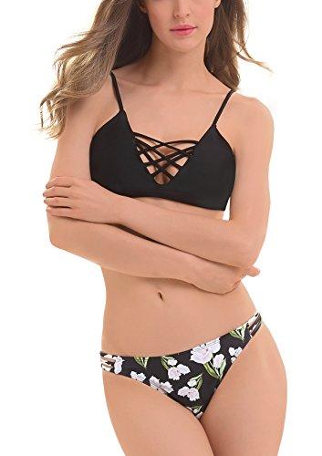 Femme Push Bikini Noir De Adorneve Up 2 Floral Sexy Bain Pcs Maillot Rembourré dTOd4qB