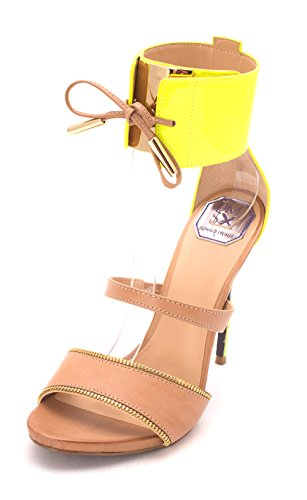 3535 Neon Yellow J Pliner abierta para Donald Orsay D SESE Correa Vachetta tobillo Mujeres Nat Pumps x6ZppwIq