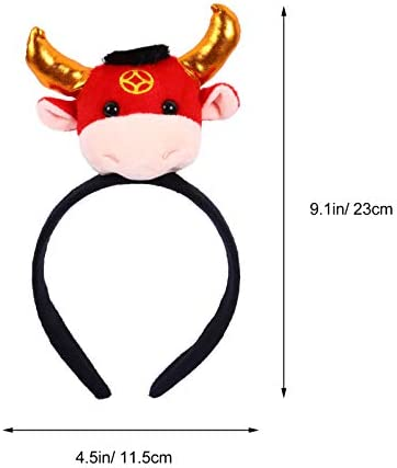 PRETYZOOM Cow Headband 2021 New Year Chinese Zodiac Year of The Ox Cow Hairband New Years Party Favor Style 3