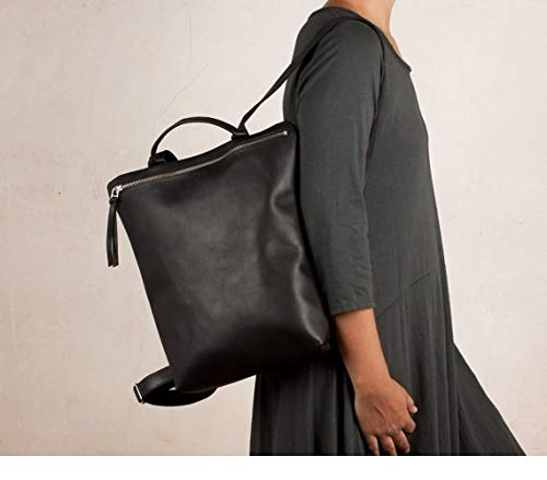 Mochila negra cuero, mochila mujer negra, mochila piel negra, mochila diseño negra,