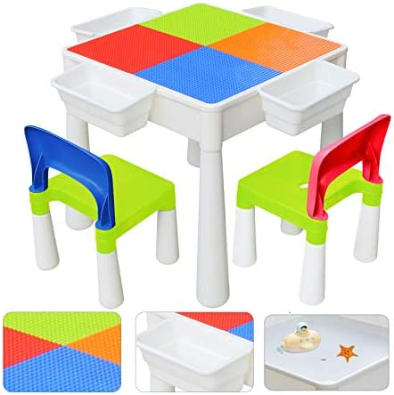 67i Kids Activity Table and 2 Chairs Set 3-in-1 Compatible Multi Activity Table Set for Kids Use As A Building Block Table Water Table Craft Table Without Building Blocks (Red/Green/Blue/Orange)