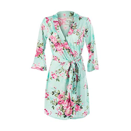 - Posh Peanut Mommy Robe for Maternity, Labor Delivery Nursing Robe, Soft Bamboo Lounge Wear (Size Small - XXLarge) (Aqua Floral, X-Large (12-14))