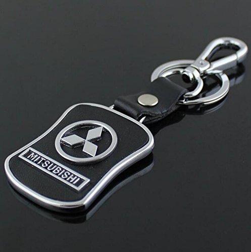 CHAMPLED Mitsubishi Emblem Keychain Keyring Logo Fashion Leather Black Titanium Symbol Sign Badge Personalized Custom Logotipo Quality Metal Alloy Nice Gift for Man Woman