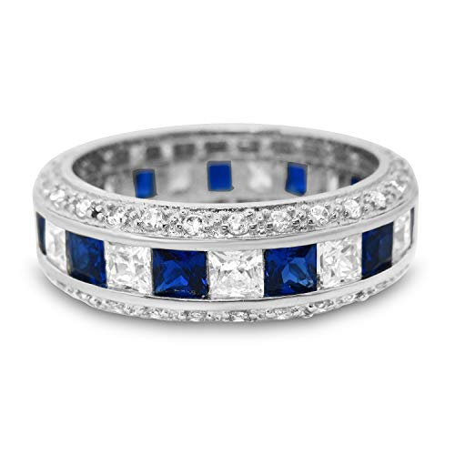 LaRaso & Co Sterling Silver Anniversary Wedding Band Ring Blue Simulated Sapphire Size -