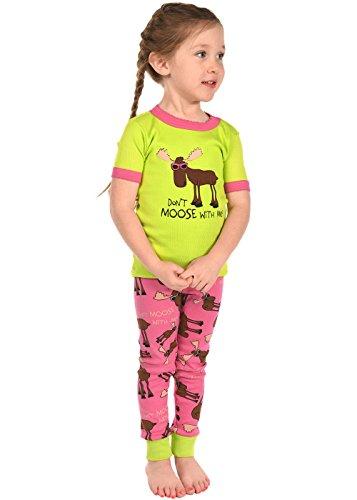 Kids Short Sleeve Pajama Sets (3T, Dont Moose With Me Girls PJ - Dont Moose