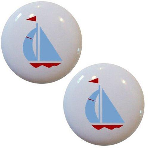 Set of 2 Light Blue & Red Sailboat Ceramic Cabinet Drawer Pull Knobs ()