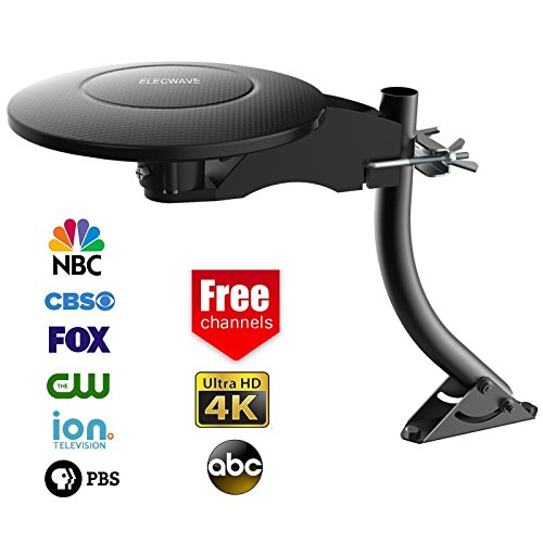 HDTV Antenna, Elecwave 70 Miles Range Outdoor/Indoor Amplified TV Antenna with High Performance 33 ft Coaxial Cable, Black (EA12)
