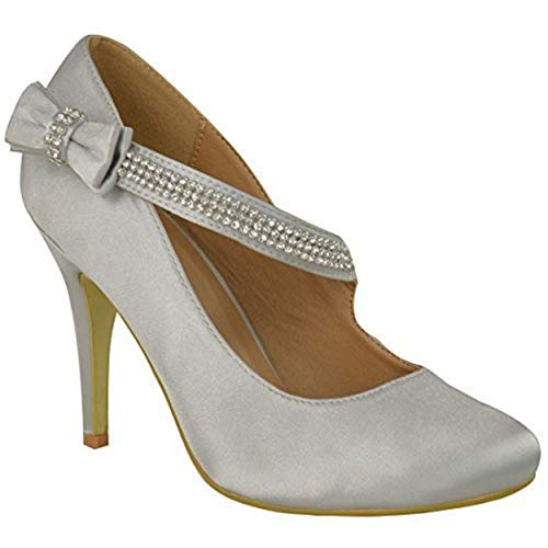 Haut Taille Chaussures Branded Talon Satin Argent Classique Bal Mariage Femmes Pompes Soirée zq8nIqBr