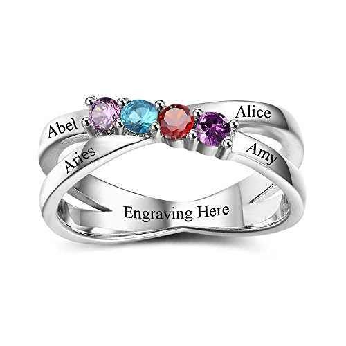 Mom Ring Birthstone Mothers - Lam Hub Fong Personalized Rings for Mother's 4 Simulated Birthstones Rings Mother's Day Rings Engraving Name Rings for Mom (7)