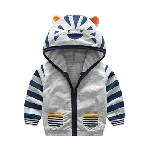 Toddler Baby Boys Kids Jacket Cute Cartoon Animal Tiger Hooded Zipper Coat Tops Fall Winter Clothes (Gray, 3-4T) ()