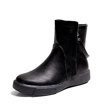 HSXZ Zapatos de mujer moda otoño invierno polipiel botas botas de tacón bajo Ronda Toe botines/botines de fiesta informal\Noche Negro Marrón: Amazon.es: ...