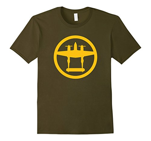 Men's P-38 Lightning (Yellow) World War II Airplane T-Shirt Large Olive